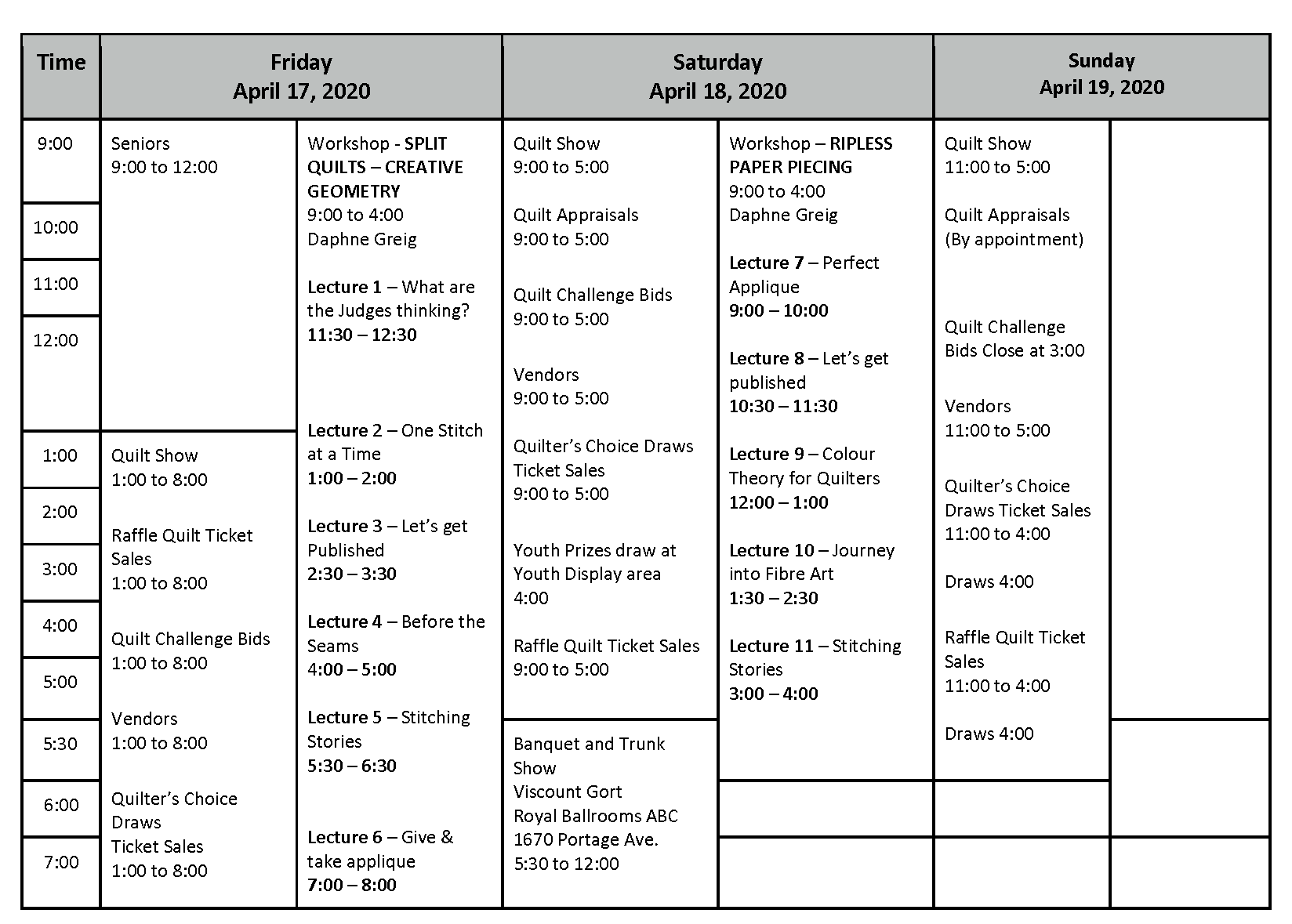 QR2020 Show Schedule